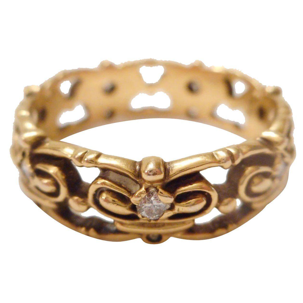 FANCY Vintage 14kt Yellow Gold & Diamond CROWN Wedding or