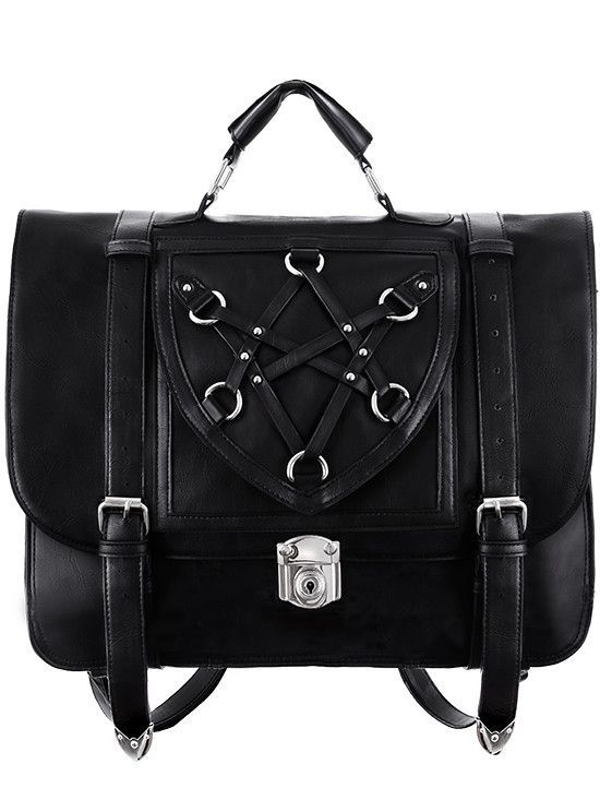 Occult Goth Boho Witch Black Messenger Backpack Expandable 3 Way Bag Fashion Leather Articles At 60 Wholesale Discount Prices Leatherjacket