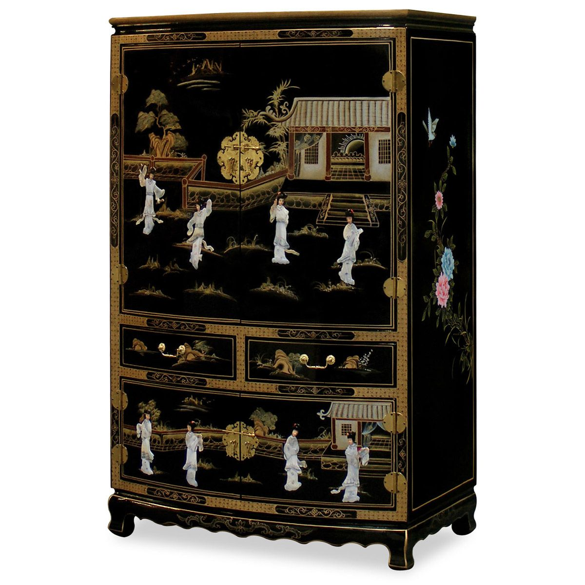 Black Lacquer Mother of Pearl TV Armoire | Mother of Pearl ...