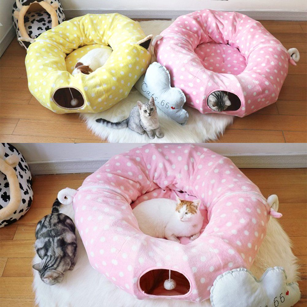 Cat Tube Tunnel With Central Mat For Cat Dog Soft Mink Cashmere And Full Moon Shaped Length 98 Diameter 9 8 Pink Dog Bed Furniture Soft Plush Bean Bag Chair