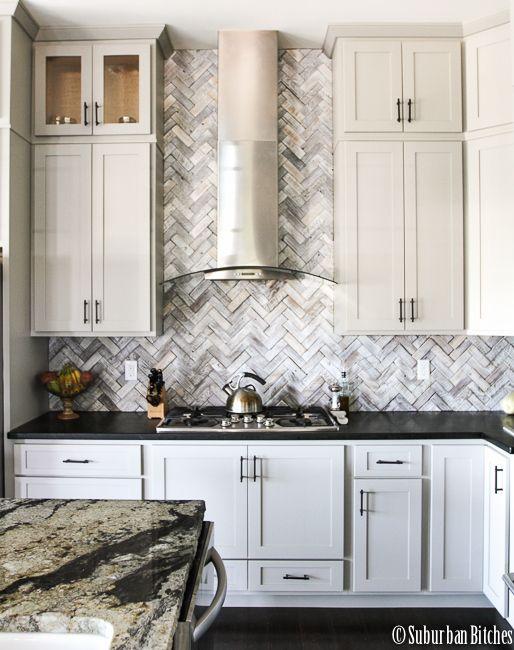 Lovely Backsplash for Gray Cabinets