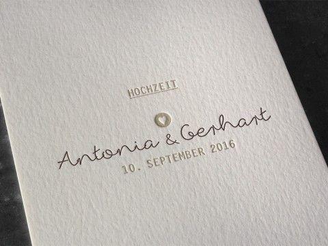Hochzeitseinladung Einladung Hochzeit Letterpress Buchdruck Prägedruck  Hochwertig Qualität Außergewöhnlich Wien Vermählung