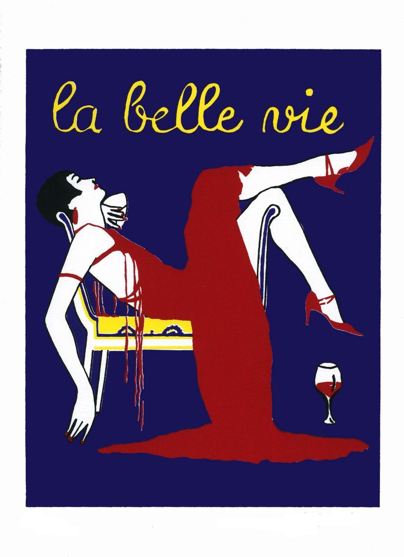 La Belle Vie The Beautiful Life Art Deco Art Nouveau Wine Diva Goddess 1920s Gatsby Flapper Screenprint 25 00 Via Etsy Life Art Art Deco Art