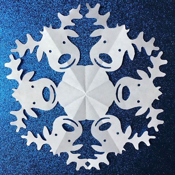 printable reindeer snowflake template  Reindeer Paper Snowflake Pattern PDF Digital by ...