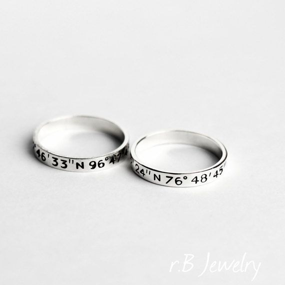 01dd0176e9 Long distance relationship gift ideas, custom coordinates ring, couple rings  More: www.coniefoxdress.com, #longpromdress