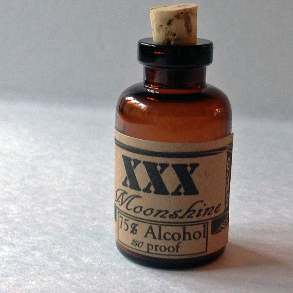 XXX Moonshine mini brown jug moonshine glass bottle by beadingmom