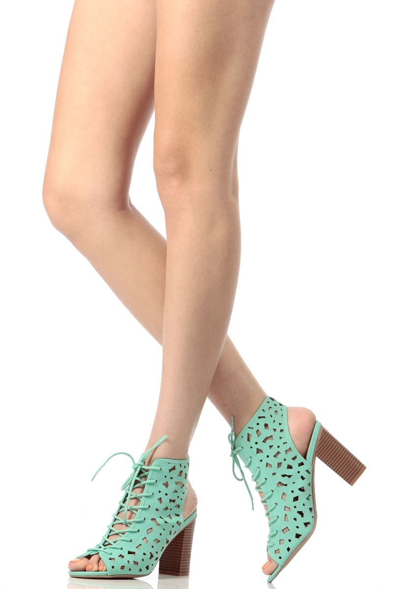 d9b33708a51 Mint Faux Nubuck Chunky Lace Up Heels   Cicihot Heel Shoes online store  sales Stiletto Heel Shoes