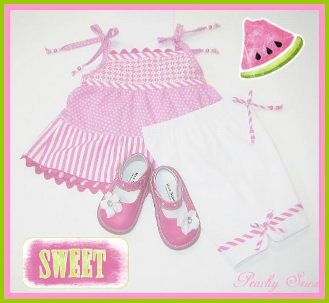 I went through my fabric stash... finding lil pieces of pink and put them together... turned out pretty cute. A had just the right shoes to top of this outfit!