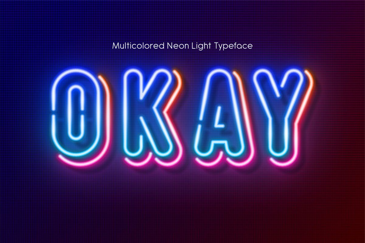 Multicolored Neon light alphabet Stunning Display Fonts