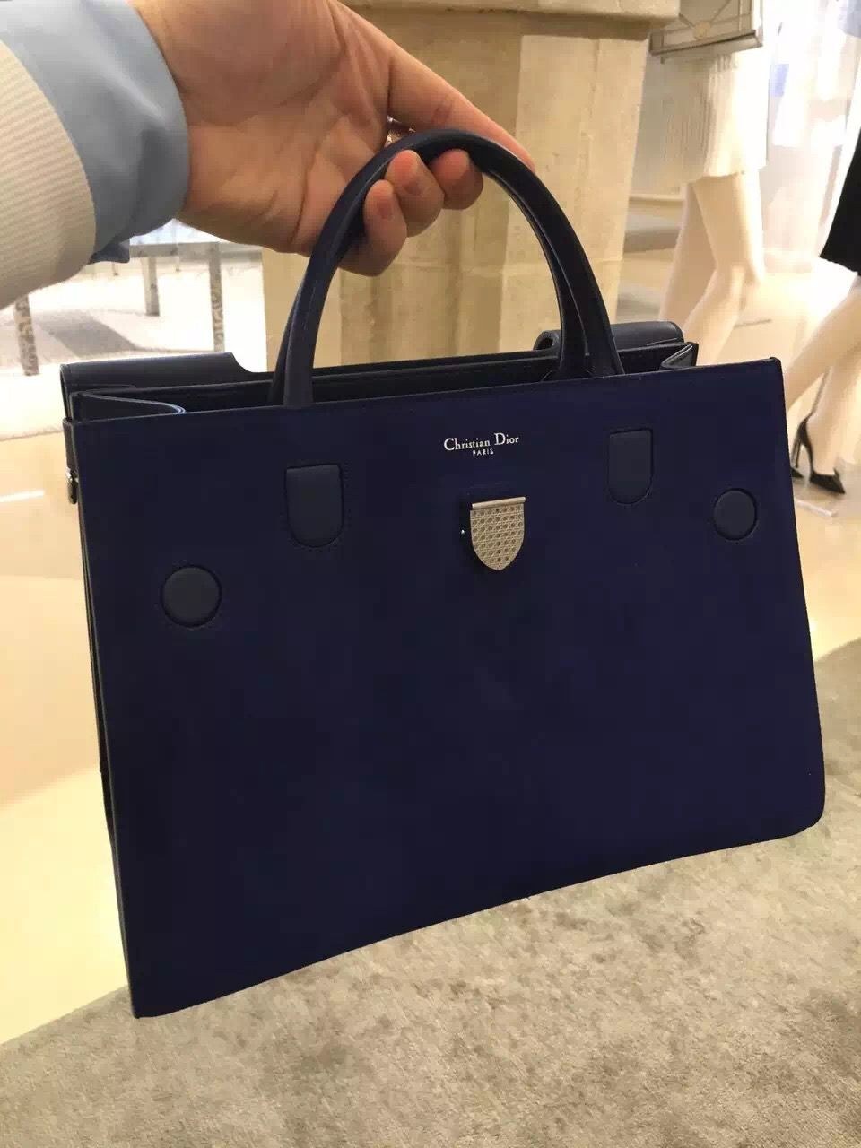 f0c0b240869a Dior Diorever Pacific Blue Suede Calfskin Bag M7000PNCH M991 ...