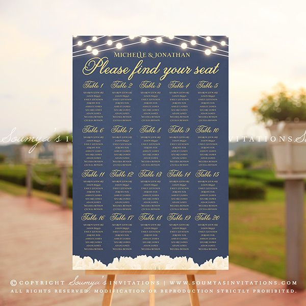 Navy Blue And Gold Wedding Seating Chart Peony Flowers String - Wedding invitation templates: seating chart template wedding