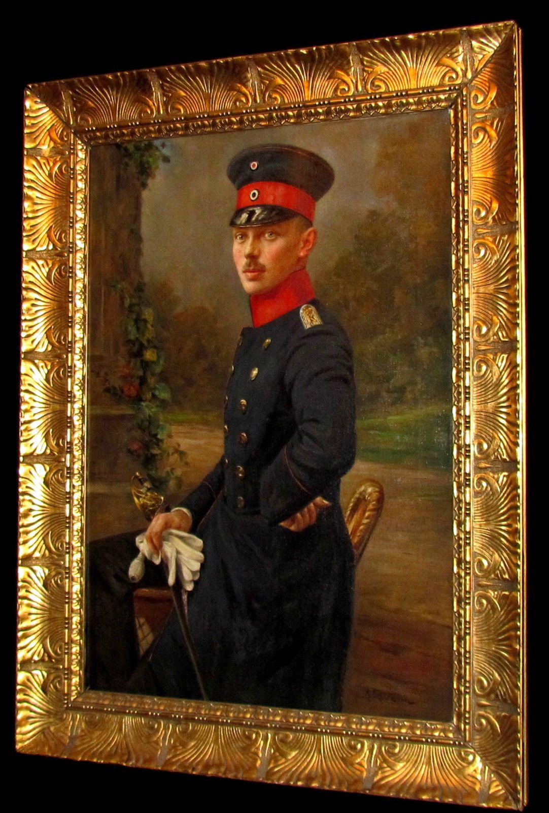 Large Fine 19th Century Portrait a Soldier Gentleman Antique Oil Painting Signed