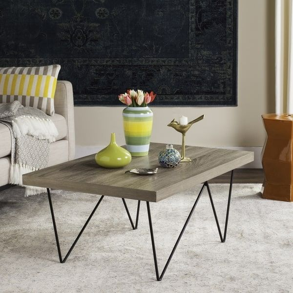 Safavieh Mid Century Modern Amos Light Grey Black Coffee Table