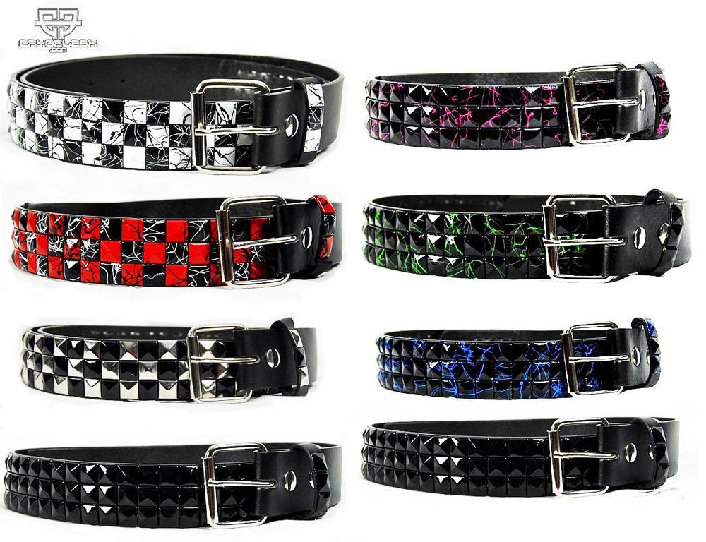 Women Men Black Fabric Punk Rocker Fashion Belt White Pring Studs Charm S M L XL
