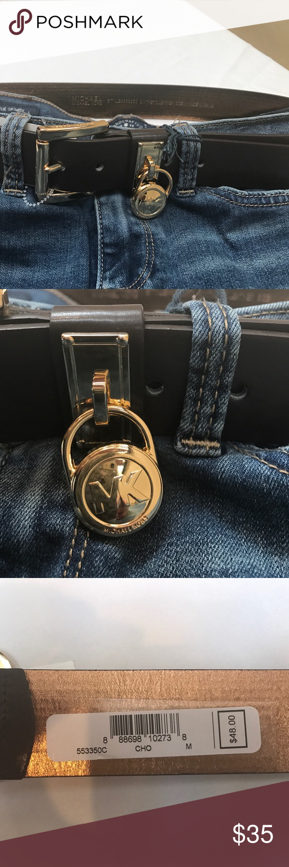 """MK brown belt 1 1/2"""" wide belt 41"""" long all leather with gold hardware Michael Kors Accessories Belts"""