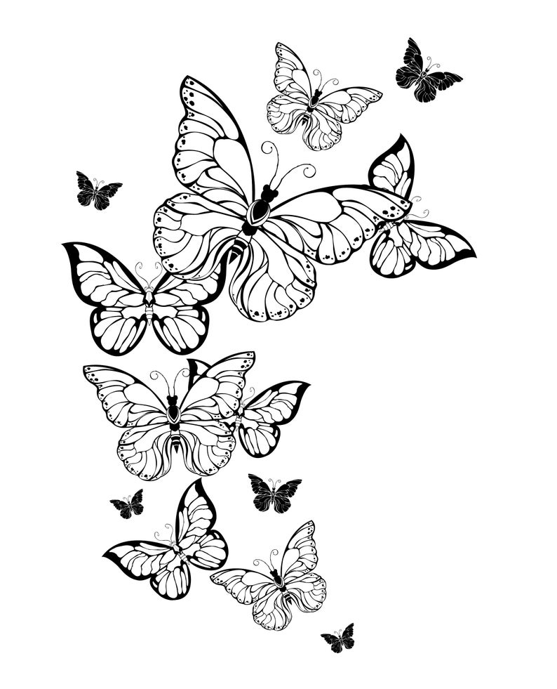 Butterfly Coloring Pages Butterfly Coloring Book For Adults Downloadable Digital Printable In 2021 Butterfly Coloring Page Butterfly With Flowers Tattoo Flower Coloring Pages