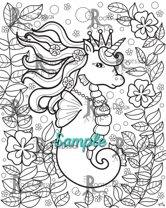 Instant Download Coloring Page Cute Sea Unicorn Doodle Art Etsy In 2021 Mermaid Coloring Book Coloring Pages Cool Coloring Pages