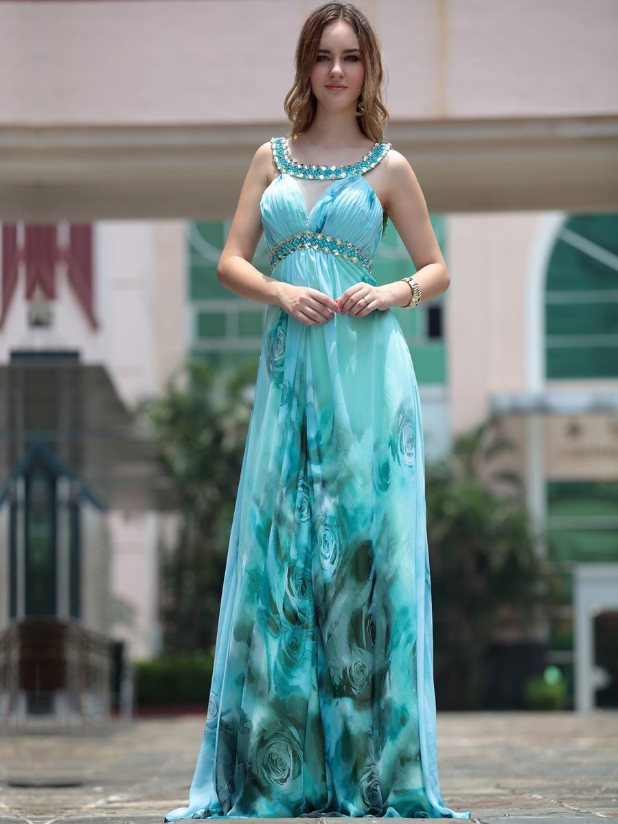 Full Length Printed Prom Dress Features Rhinestoned Scoop Neckline and Waist BrandsNew Product:YESFreeship:YESQuick Delivery:YESSilhouette:EmpireNeckline:ScoopSleeve Style:SleevelessHemline:Floor LengthEmbellishment:Rhinestones/Crystal/Ruching/Pattern/PrintFully Lined:YESBuilt in Bra:YESFabric:ChiffonSpecific Fabric:viscose…