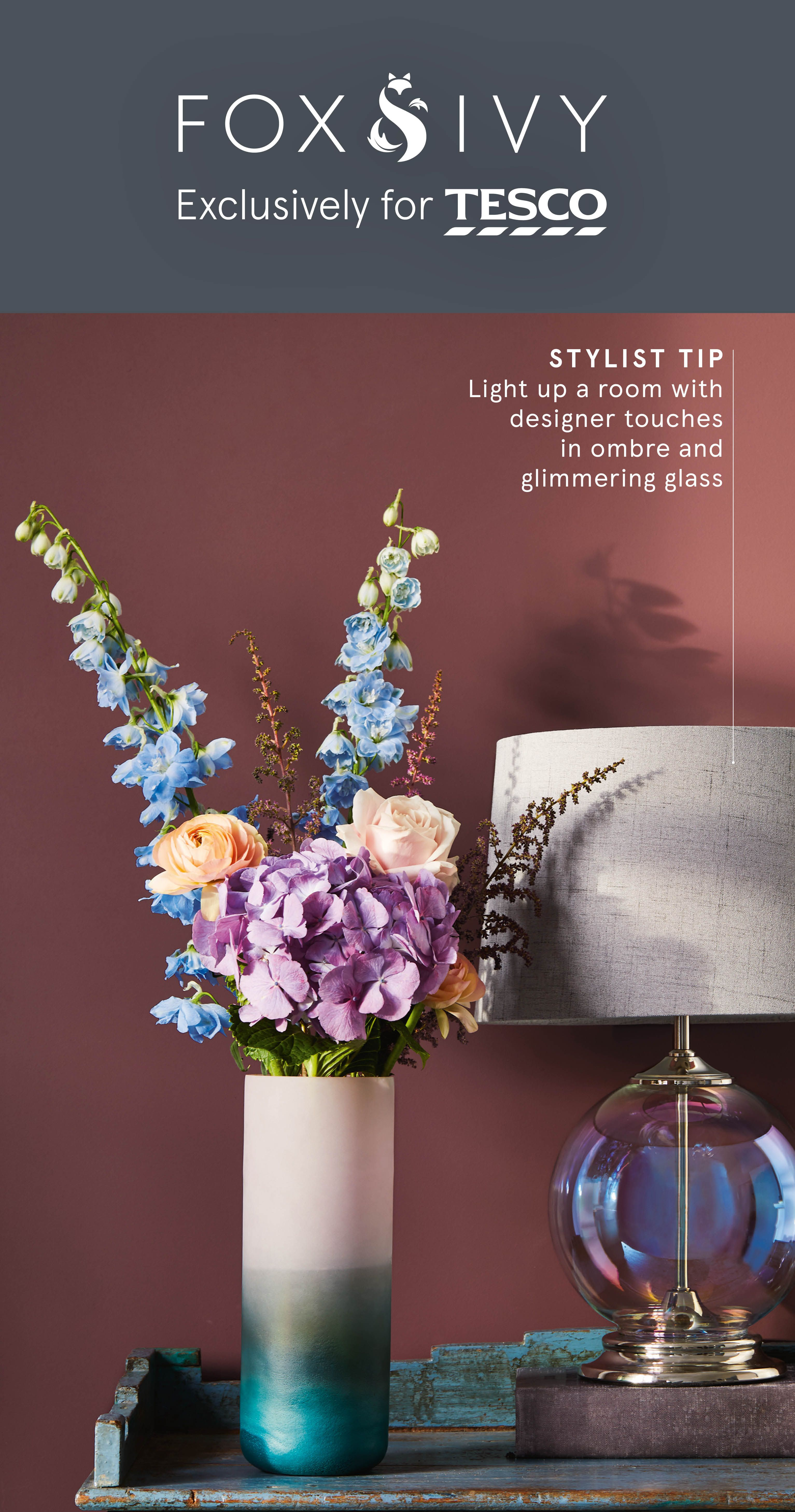 Our stunning ombre vase and iridescent table lamp from fox ivy will add stylish detailing to any space find it at tesco