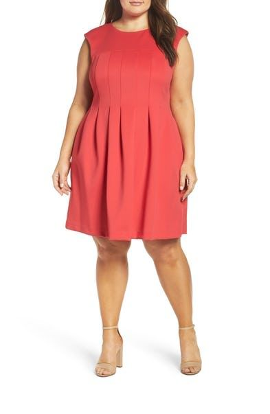 Vince Camuto Pleat Fit & Flare Dress Plus Size