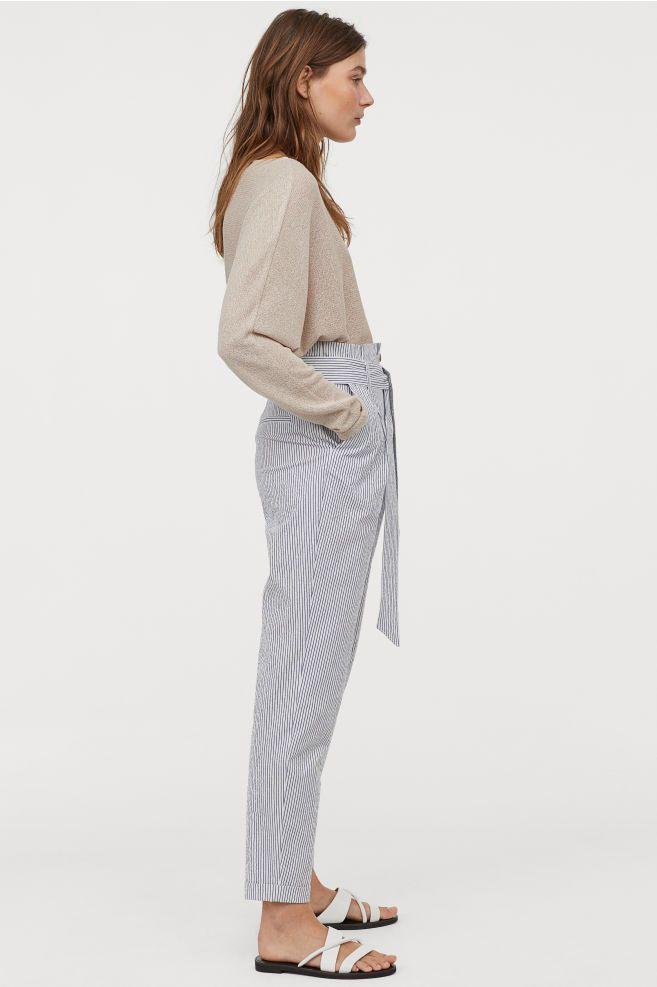 Photo of Paper-bag Pants – White/striped – Ladies   H&M US