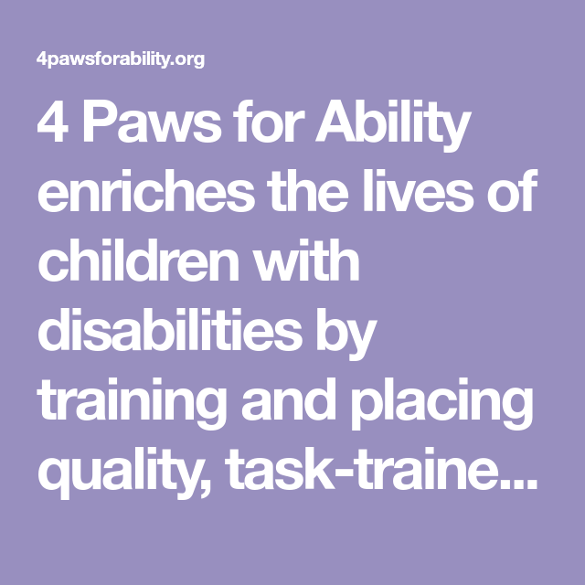 4 Paws For Ability Enriches The Lives Of Children With