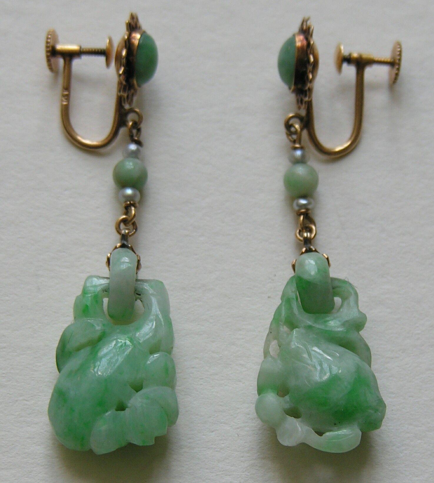 Vintage chinese carved peach jade pearl 14k earrings these vintage chinese carved peach jade pearl earrings these gorgeous chinese carved jade earrings feature a carved peach the chinese symbol for longevity buycottarizona