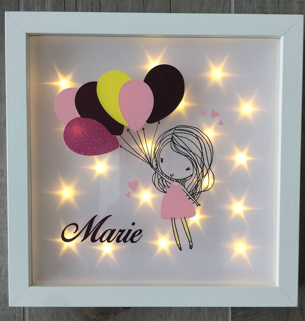 illuminated picture frame with balloon girl and name night light birthday gift birth or. Black Bedroom Furniture Sets. Home Design Ideas
