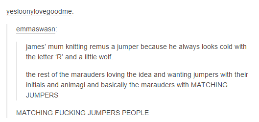 The Marauders with jumpers... But seriously they'd look so damn cute and hot... So kissable! OMG! I want this!