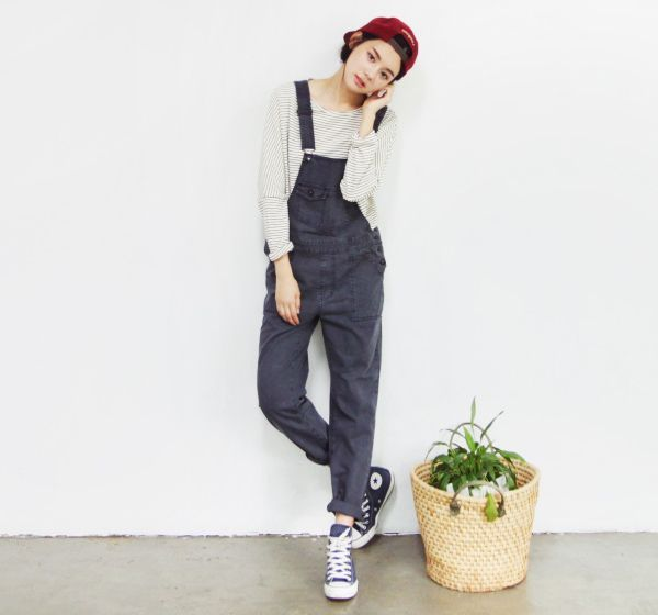 50362d29651 Cute black overalls paired with high top converse and sweater and a  mahogany hat