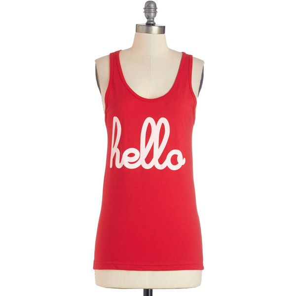 ModCloth Sayings Mid-length Tank top (2 thick straps) Hi, It's Me Tank (345 ARS) ❤ liked on Polyvore featuring tops, shirts, tank tops, apparel, graphic tee, red, scoop neck top, spaghetti-strap tank tops, red top and red shirt