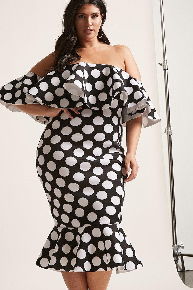 Plus Size Polka Dot Mermaid Dress | Forever21 | Forever 21 ...