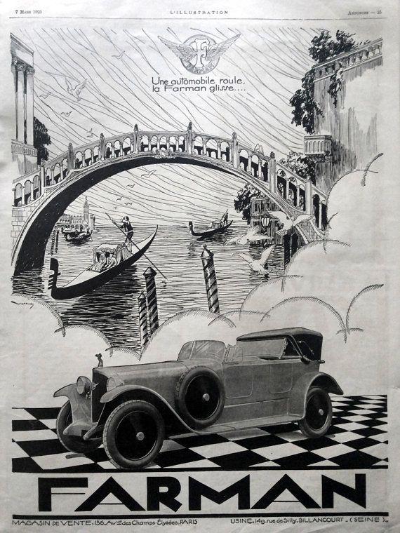 FARMAN automobiles advertising, vintage poster, original art deco car poster https://www.etsy.com/listing/231781323/farman-automobiles-advertising-vintage?ref=shop_home_active_1&utm_content=buffer752af&utm_medium=social&utm_source=pinterest.com&utm_campaign=buffer #Etsymntt #a4team