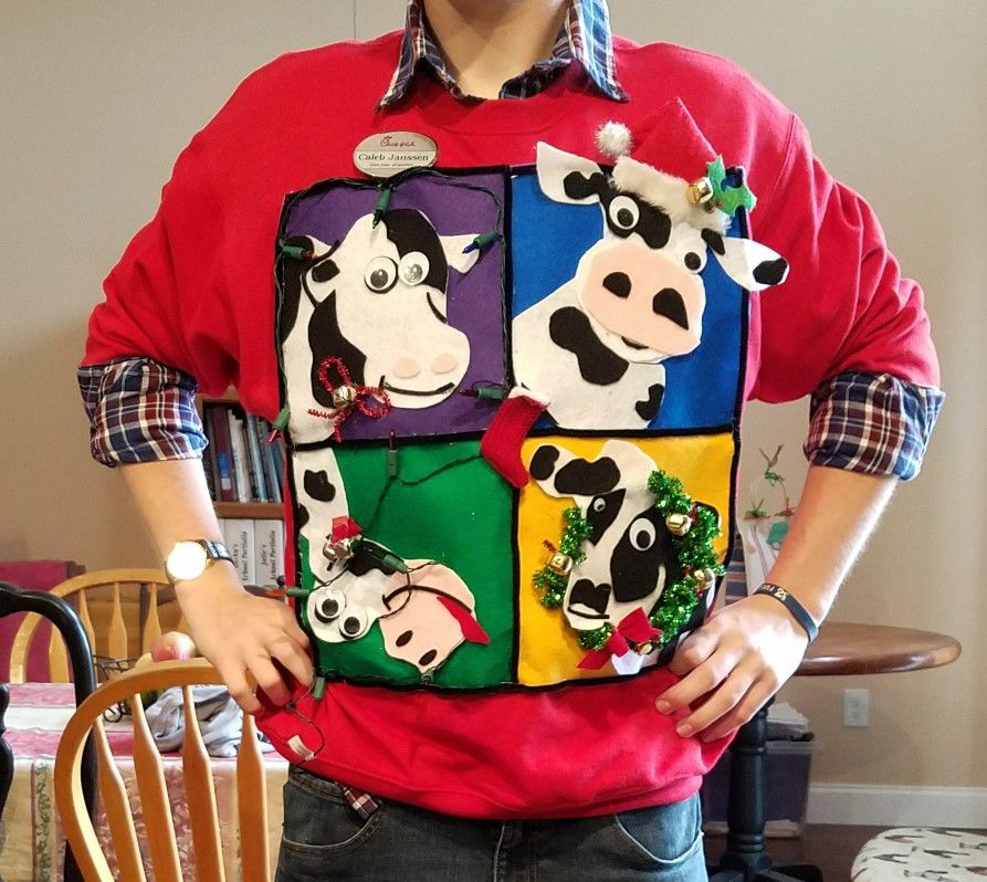 cow mania ugly christmas sweater
