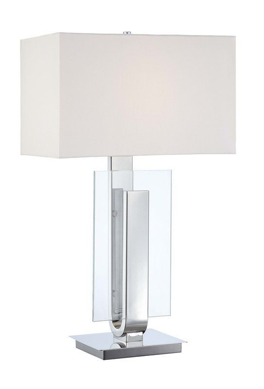 Kovacs P794 613 Polished Nickel 1 Light Table Lamp With White Linen Shade From The Decorative Portables Collection Lamp Table Lamp Table Lamp Lighting