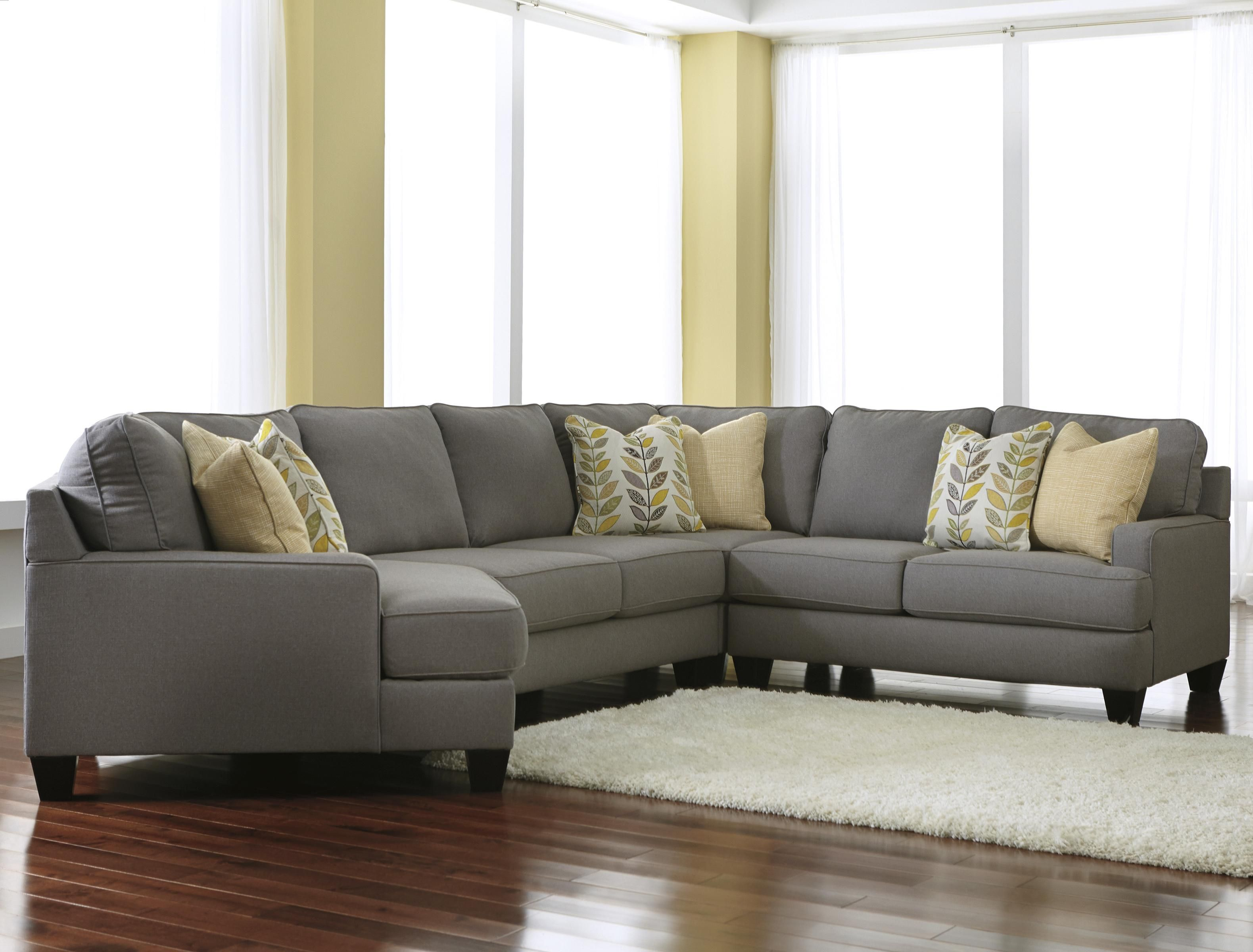 "Rent Furniture Ashley ""Vista Chocolate"" 3 Piece Sectional"