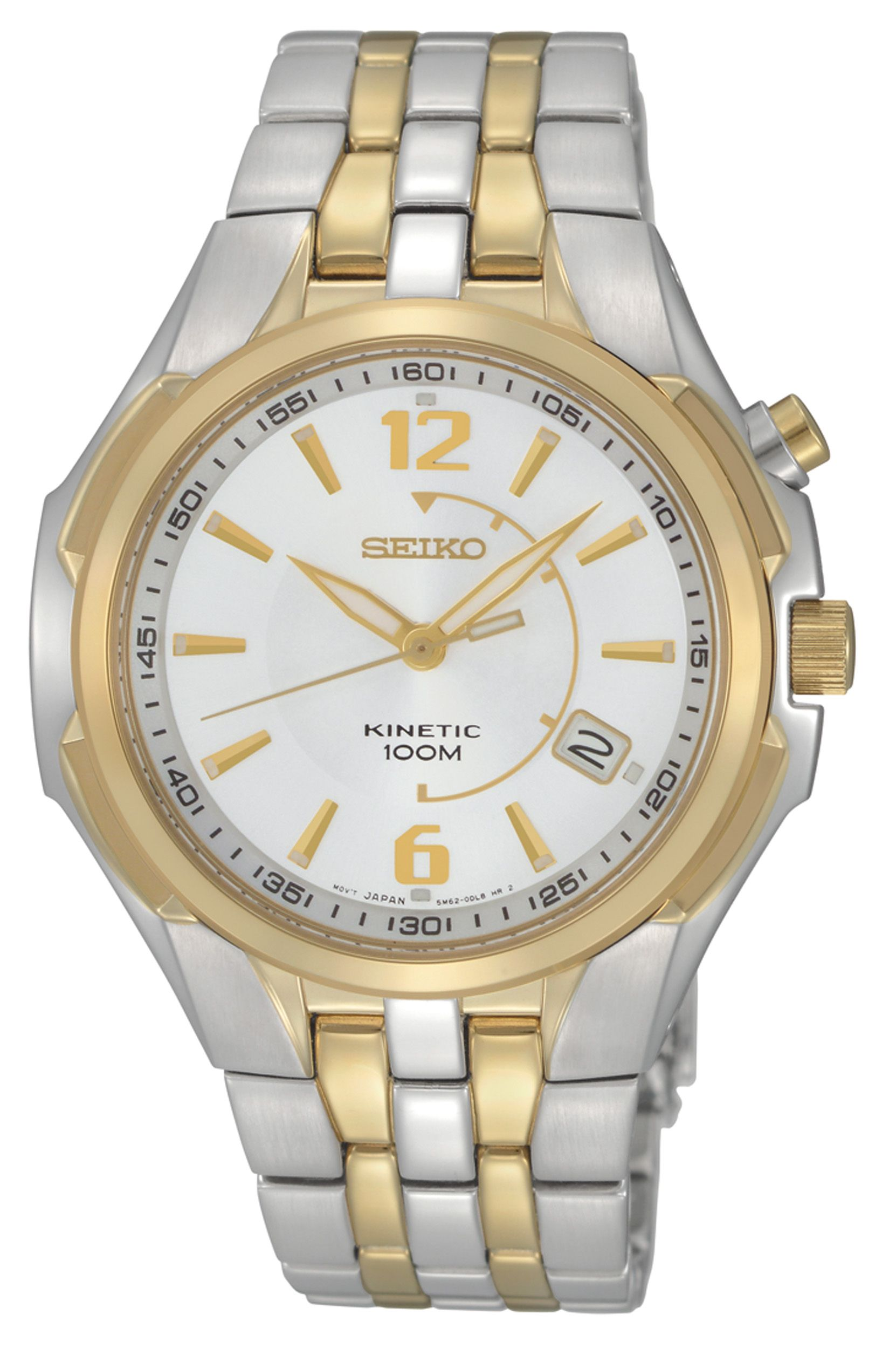 Seiko kinetic watch environmentally friendly watch with stainless steel and gold band ska516 for Seiko kinetic watches