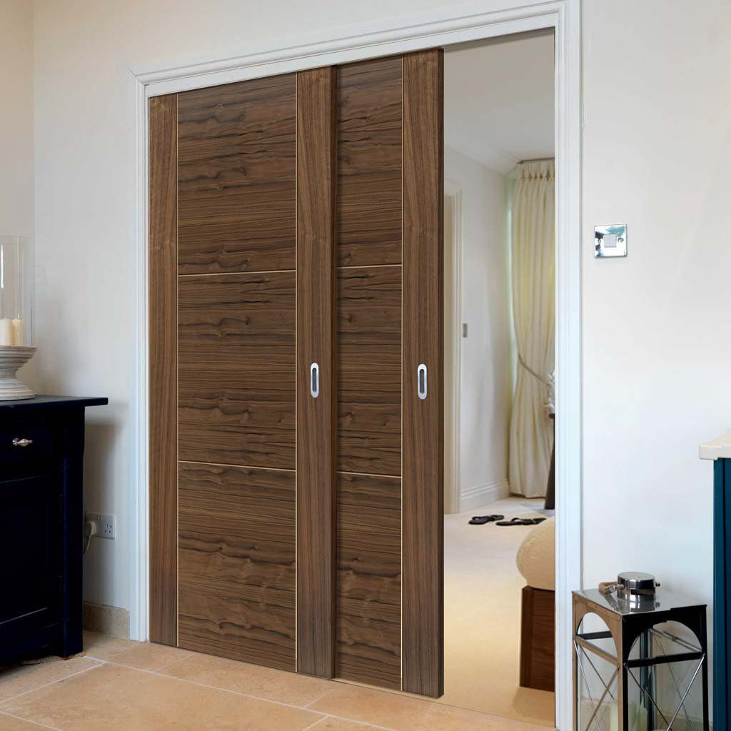 Two Sliding Doors And Frame Kit Mistral Flush Walnut