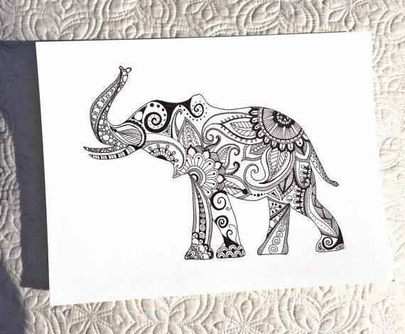 Hand Drawn Henna Style Elephant | Ink and holes <3 | Pinterest ...