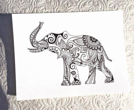 Hand Drawn Henna Style Elephant