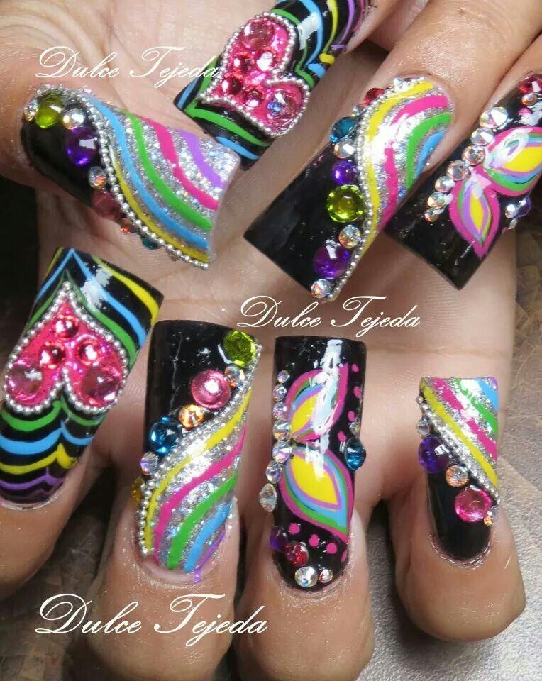 Sinaloa Style nails. Uñas larguísimas. Buchonas. Uñas estilo Sinaloa ...