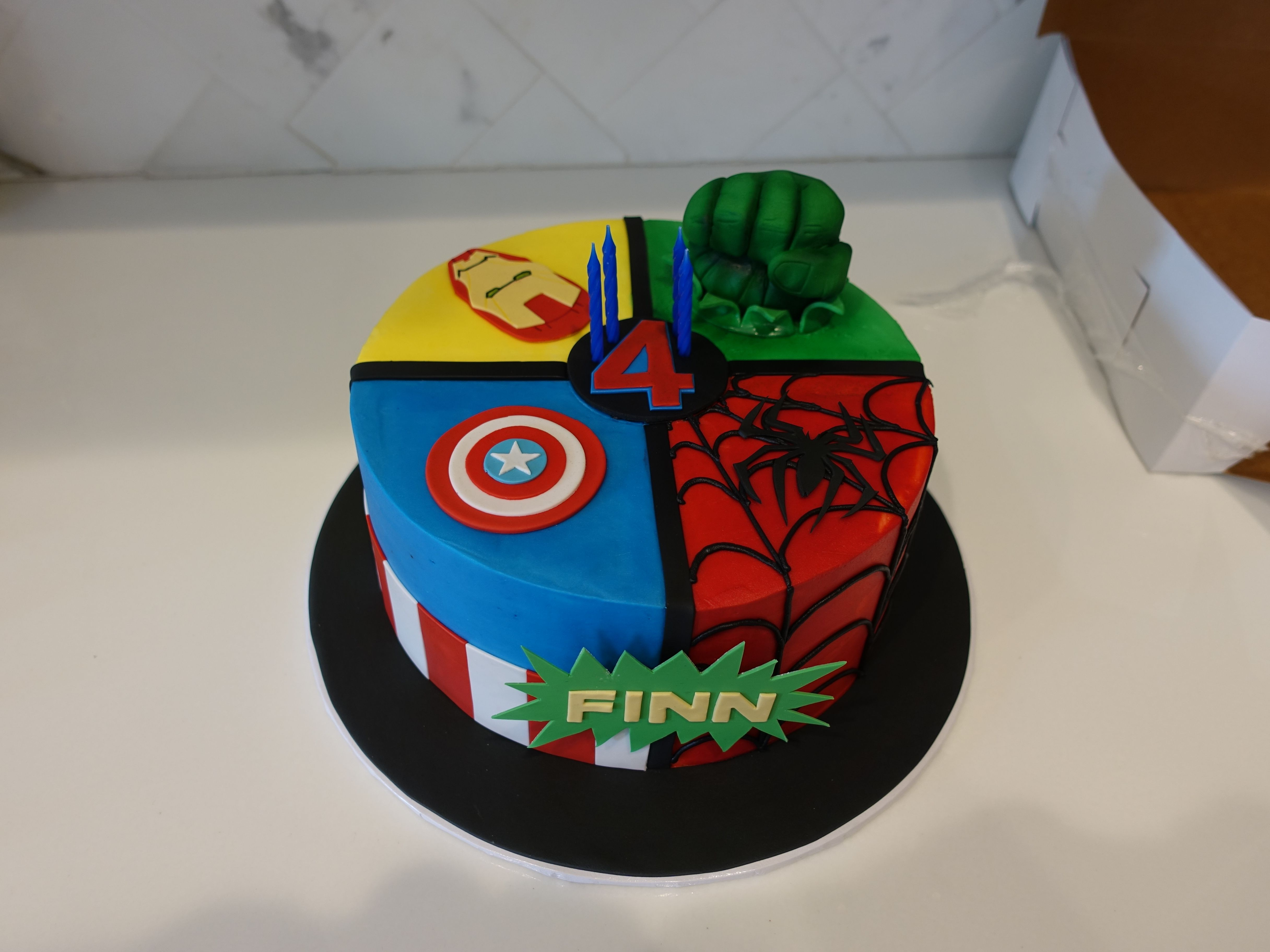 Groovy Superhero 4Th Birthday Cake With Images 4Th Birthday Cakes Funny Birthday Cards Online Sheoxdamsfinfo