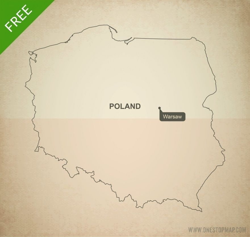 photo about Printable Map of Poland referred to as Free of charge Vector Map of Poland Determine Ink Map vector, Vector