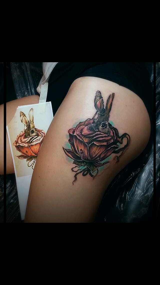 Beautiful rabbit and teacup rose. Blake Thomas.  The Crow's Nest. Houston.