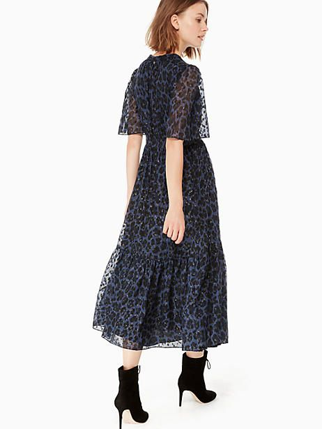 cd3d03aef018 Kate Spade Leopard-print Clip Dot Midi Dress, Light Adriatic Blue - Size 0
