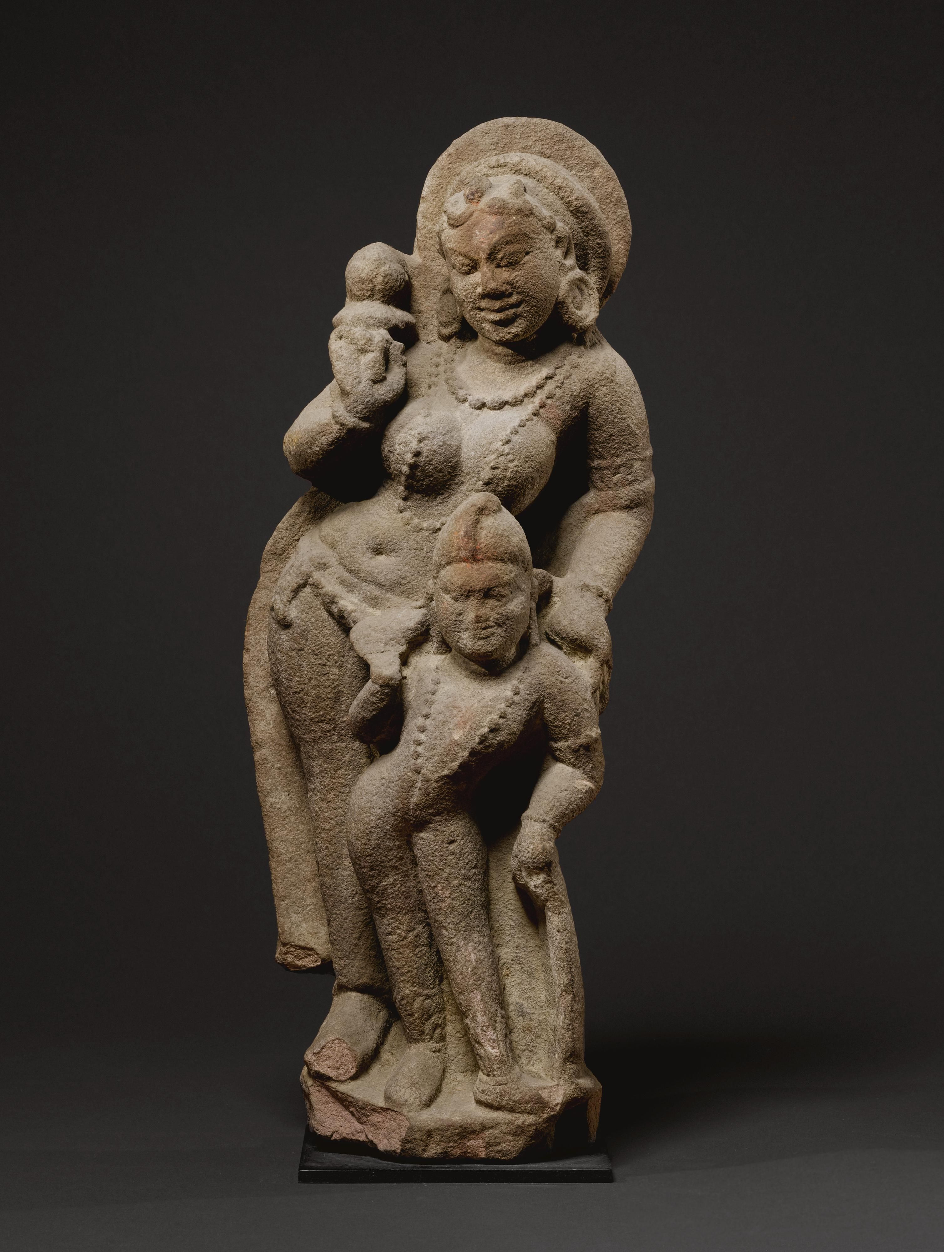 Goddess with attendantbuff sandstonecentral india 8th cent