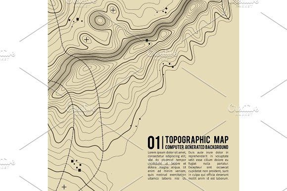 Topographic map background with space for copy Line topography map