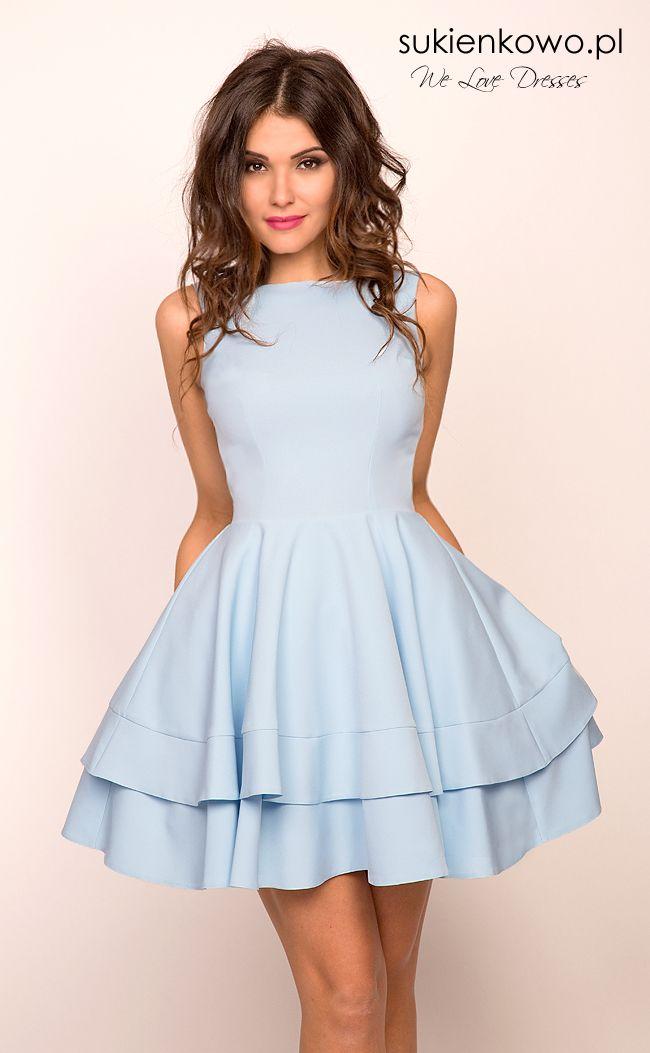 1dccc978de Sukienkowo.pl - AUDREY - podwójnie rozkloszowana sukienka baby blue