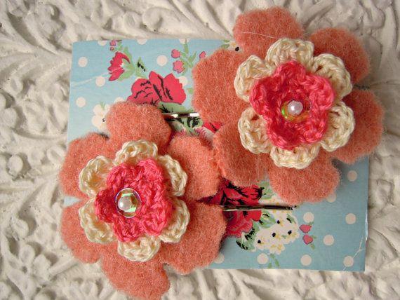 Pretty Flower Hair Clips  peach vintage wool by RubyRedcrafts