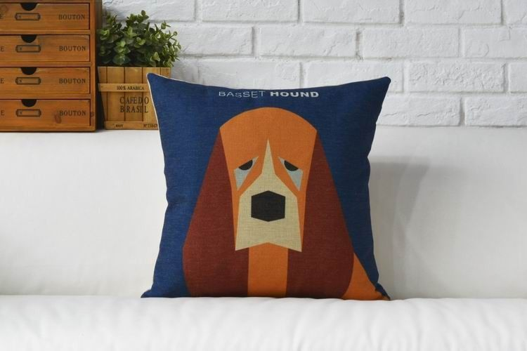 We love these dog cushion covers because unlike our four legged friends don't leave hairs on the sofa - pick from pug, boston terrier, husky or basset hound.